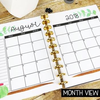 Watercolor Succulent Teacher Binder & Planner Pack - Yearly Updates!