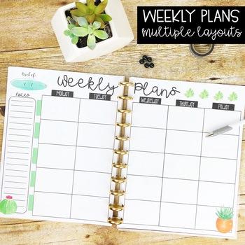 Watercolor Succulent & Cactus Teacher Binder & Planner Pack
