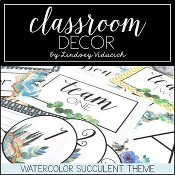 Watercolor Succulent Theme Classroom Decor {EDITABLE}