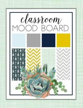 Watercolor Succulent Theme Classroom Decor {EDITABLE}