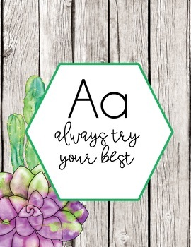 Watercolor Succulent Theme Kindness Alphabet