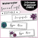 Watercolor Succulent Theme Sterilite 3-Drawer Labels