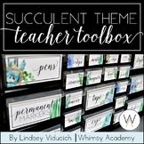 Watercolor Succulent Theme Teacher Toolbox Labels {EDITABLE}