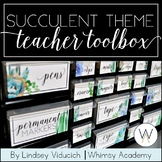 Watercolor Succulent Theme Teacher Toolbox Labels {EDITABLE}