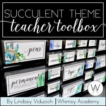 Watercolor Succulent Theme Teacher Toolbox Labels