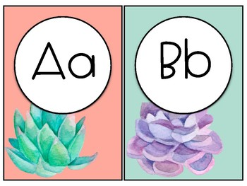 Watercolor Succulent Themed Alphabet Line