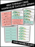 Watercolor Succulent Themed Daily Schedule Cards