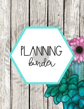 Watercolor Succulent Themed Editable Binder Covers