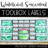 Watercolor Succulent and Cactus Teacher Toolbox Labels -Editable