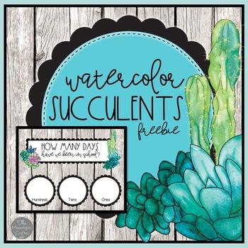 Watercolor Succulents Classroom Decor Freebie