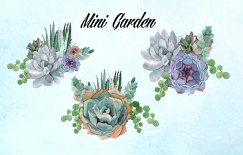 Watercolor Succulents Clip Art