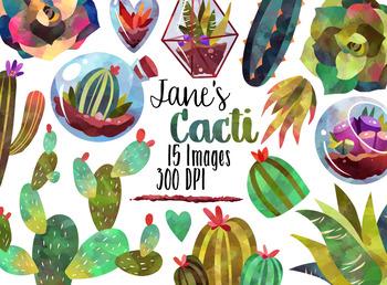 Watercolor Succulents Clipart