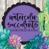 Watercolor Succulents Decor Bundle