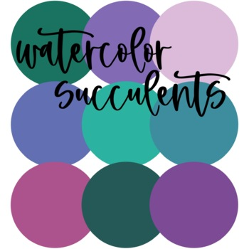 Watercolor Succulents Decor Bundle