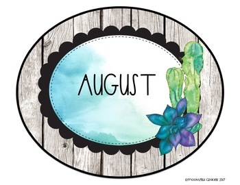 Watercolor Succulents EDITABLE Birthday Bulletin Board Set