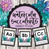 Watercolor Succulents Kindness Alphabet