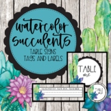 Watercolor Succulents Table Signs and Desk Labels