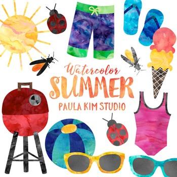 Watercolor Summer Clip Art