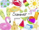 Watercolor Summer Clipart, Summer Graphics, Summertime Cli