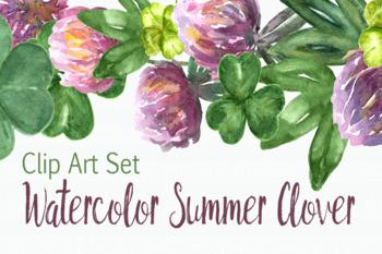 Watercolor Summer Clover Clip Art Set