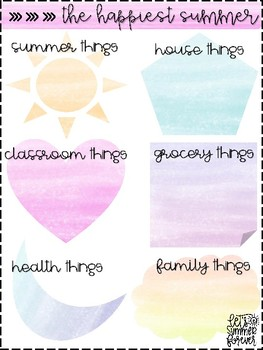 Watercolor Summer To-Do Lists