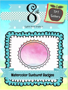 Watercolor Sunburst Badges
