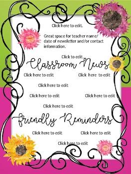 Watercolor Sunflowers Editable Newsletter