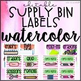 Watercolor Supply Bin Labels Editable