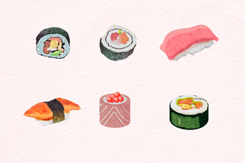 Watercolor Sushi Clipart, Japanese Food Clipart