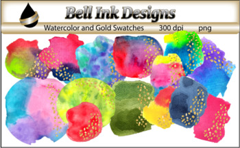 Watercolor Swatches with Gold Clipart Set 2