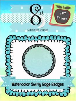 Watercolor Swirly Edge Badges