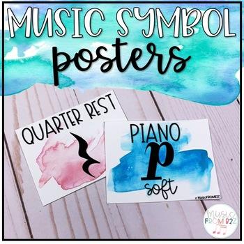Watercolor Music Symbols: Durations, Dynamics & Symbols