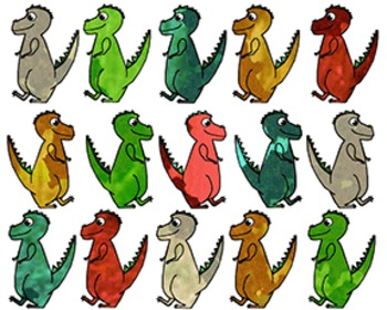Watercolor T-Rex Dinosaur Cut-Outs Classroom Accents
