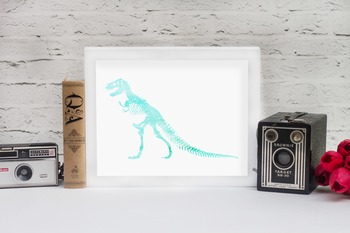 Watercolor T-Rex Printable in Multiple Colors // Dinosaur Decor