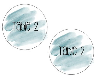 Watercolor Table Labels