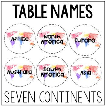 Watercolor Table Names