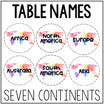 Watercolor Table Names