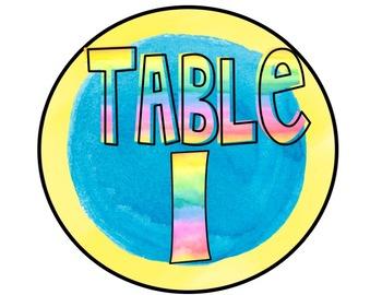 Watercolor Table Number Signs (Color Splash Series)-Editable