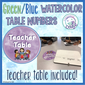 Watercolor Table Numbers: Green/Blue/Purple