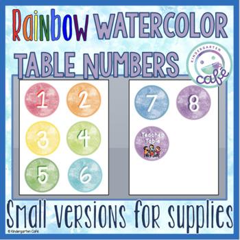 Watercolor Table Numbers: Rainbow