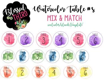 Watercolor Table Numbers *editable*