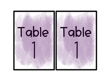 Watercolor Table Signs
