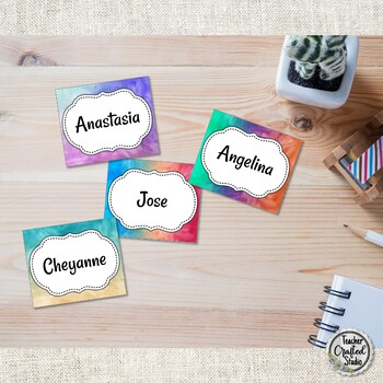 Watercolor Cubby Tags, Name Tags and Coat Hooks