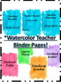 Watercolor Teacher Binder Pages!