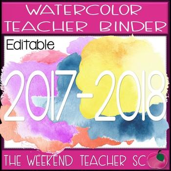 Watercolor EDITABLE Teacher Binder Set 2017-2018