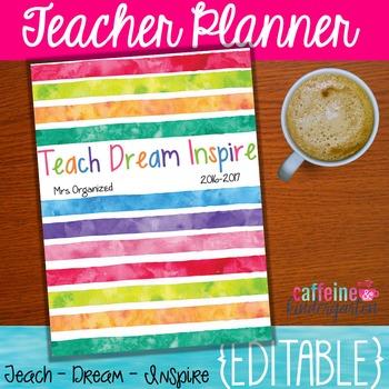 Watercolor Teacher Binder Editable