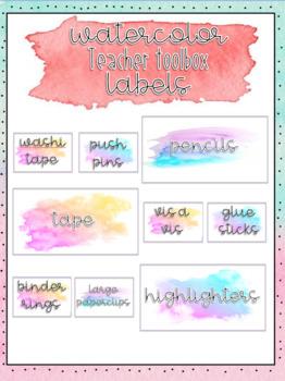 Watercolor Teacher Toolbox Labels EDITABLE