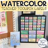 Watercolor Teacher Toolbox Labels (Editable)