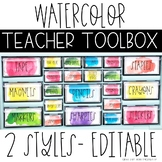 Watercolor Teacher Toolbox Labels - Editable