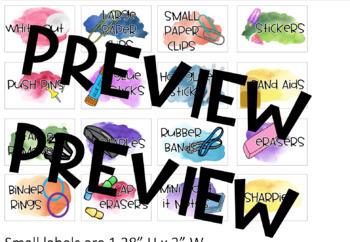 Watercolor Teacher Toolbox Labels